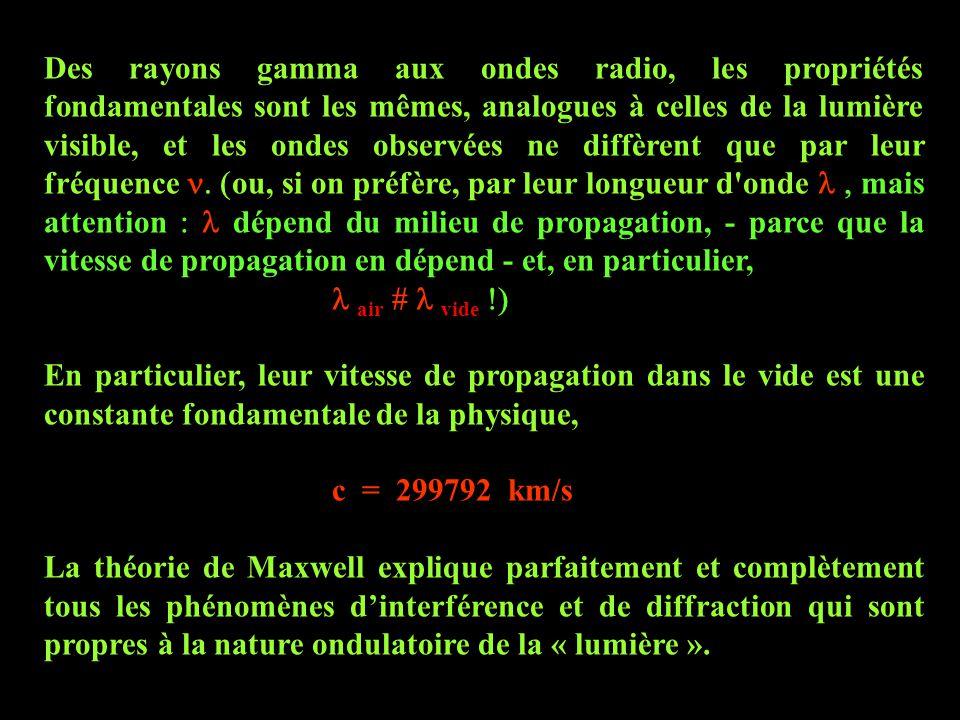 Des rayons gamma aux ondes radio, les propriétés fondamentales sont les mêmes, analogues à celles de la lumière visible, et les ondes observées ne diffèrent que par leur fréquence n. (ou, si on préfère, par leur longueur d onde l , mais attention : l dépend du milieu de propagation, - parce que la vitesse de propagation en dépend - et, en particulier,