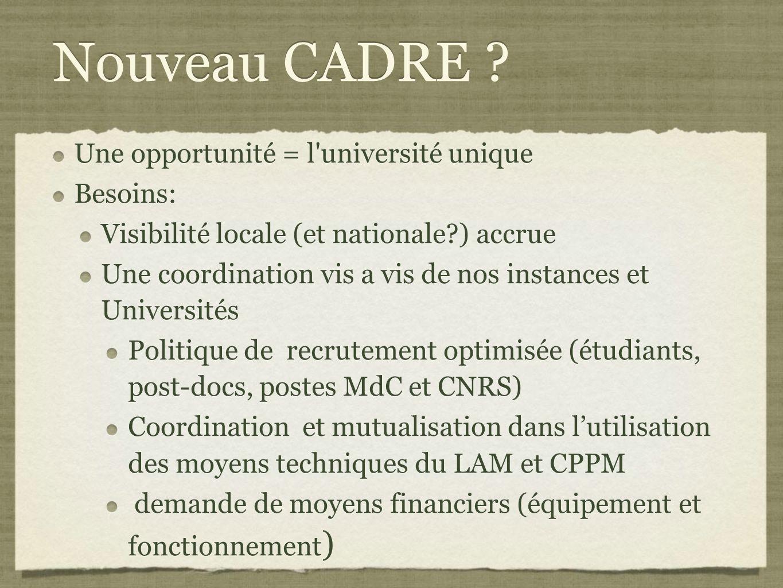 Nouveau CADRE Une opportunité = l université unique Besoins: