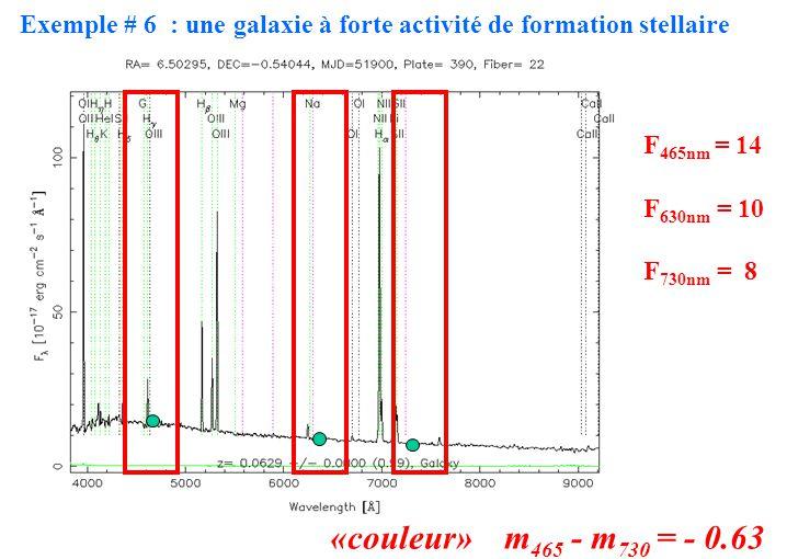 F465nm = 14 F630nm = 10. F730nm = 8. «couleur» m465 - m730 = - 0.63.