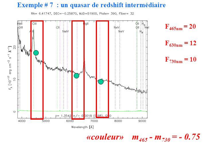 F465nm = 20 F630nm = 12. F730nm = 10. «couleur» m465 - m730 = - 0.75.