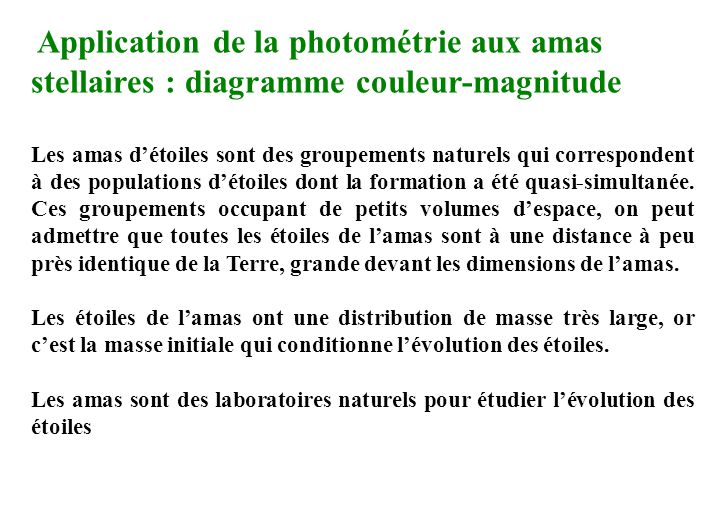 Application de la photométrie aux amas stellaires : diagramme couleur-magnitude