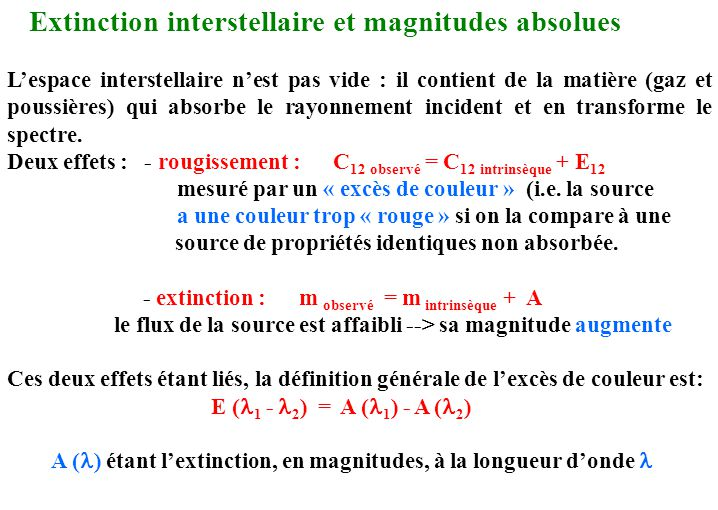 Extinction interstellaire et magnitudes absolues