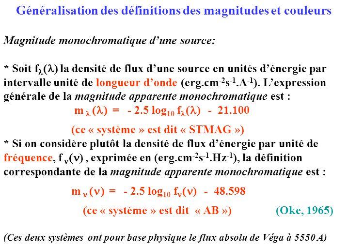 Généralisation des définitions des magnitudes et couleurs
