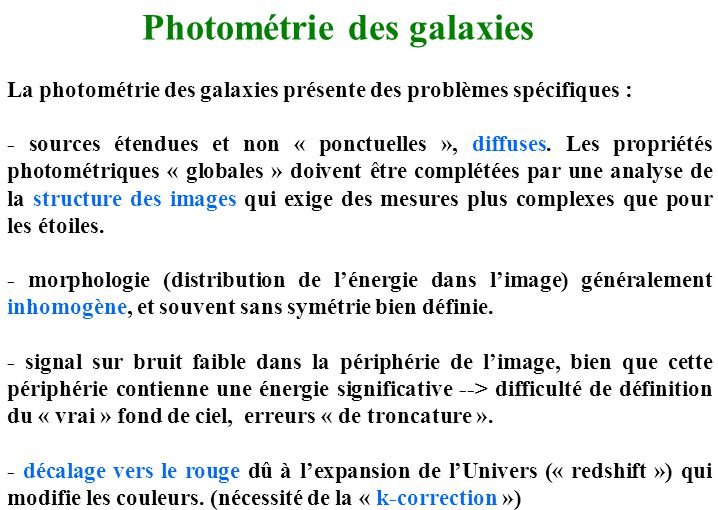 Photométrie des galaxies