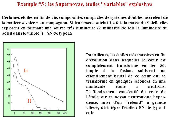 Exemple #5 : les Supernovae, étoiles variables explosives