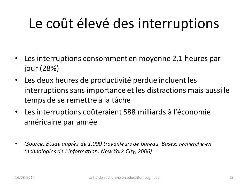 Le coût élevé des interruptions