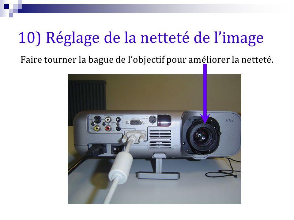 10) Réglage de la netteté de l'image