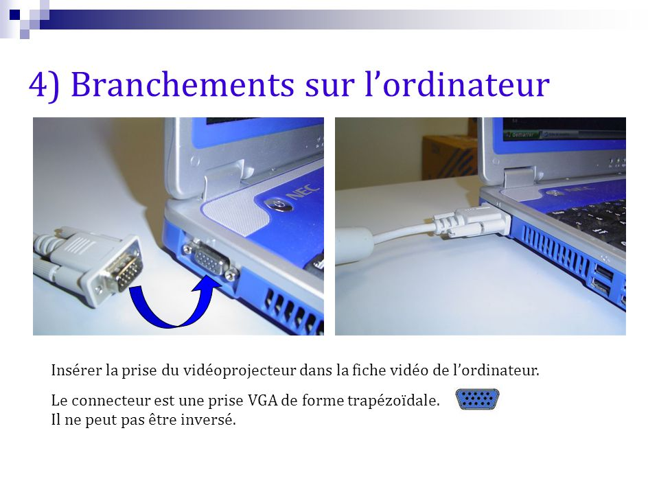 4) Branchements sur l'ordinateur