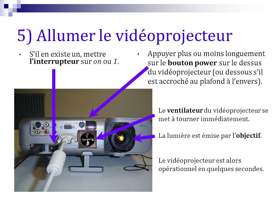 5) Allumer le vidéoprojecteur