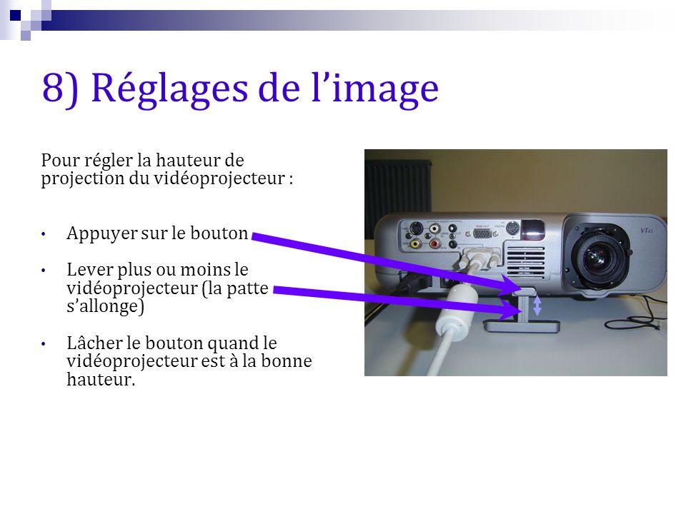8) Réglages de l'image Pour régler la hauteur de