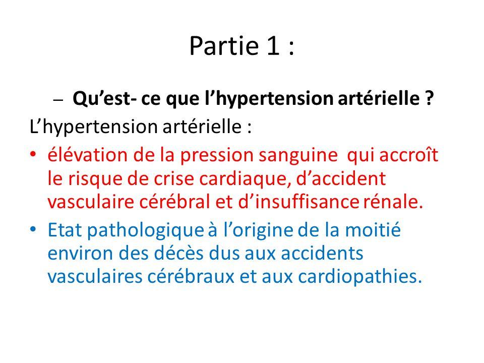 Partie 1 : L'hypertension artérielle :