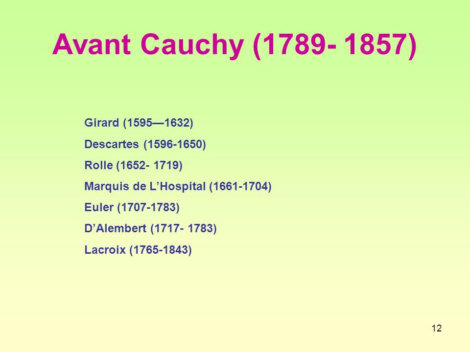 Avant Cauchy (1789- 1857) Girard (1595—1632) Descartes (1596-1650)