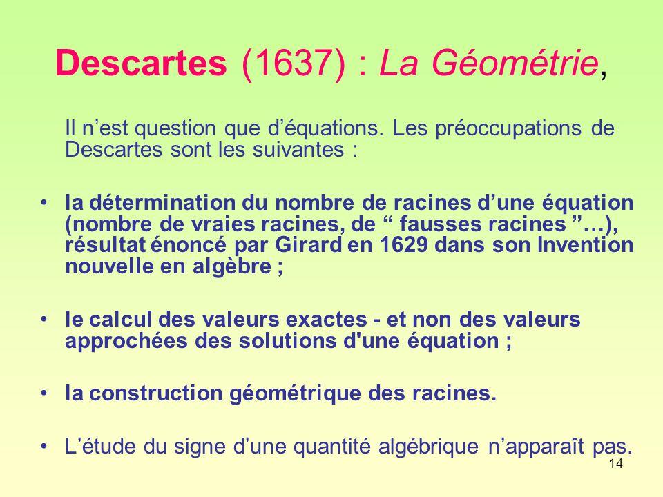 Descartes (1637) : La Géométrie,