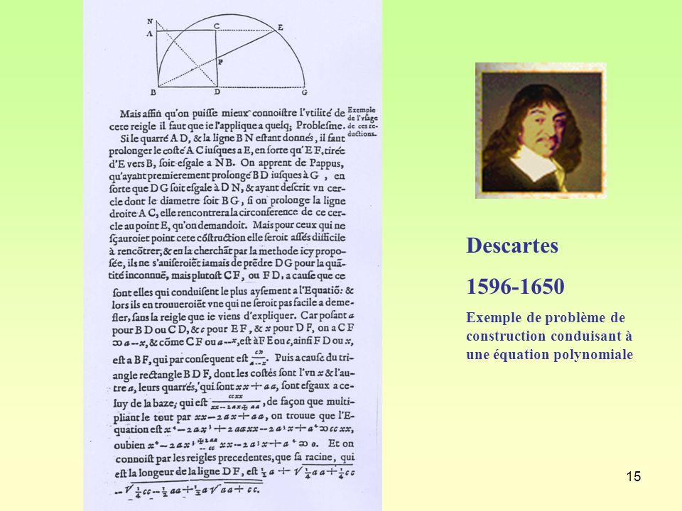 Descartes 1596-1650 Exemple de problème de construction conduisant à une équation polynomiale