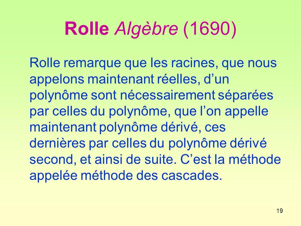 Rolle Algèbre (1690)