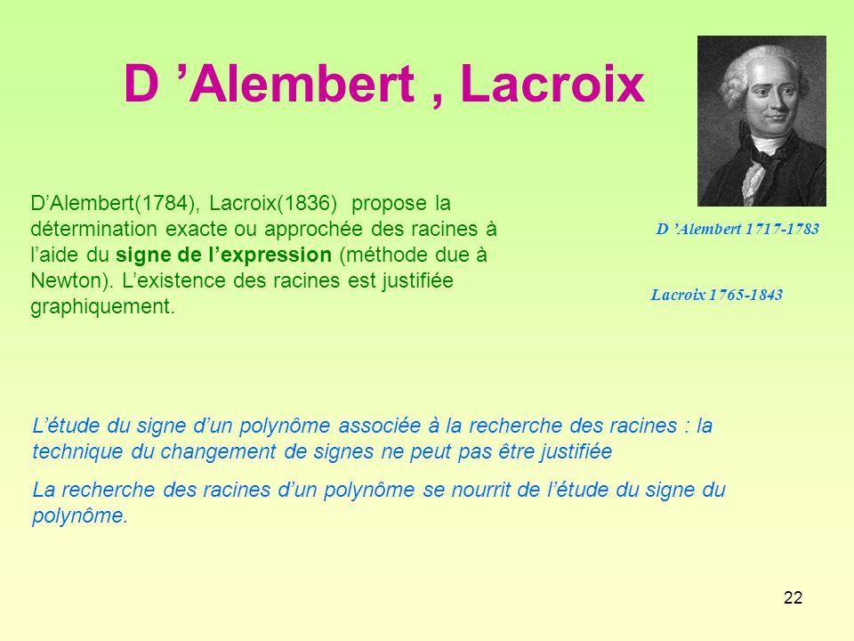 D 'Alembert , Lacroix