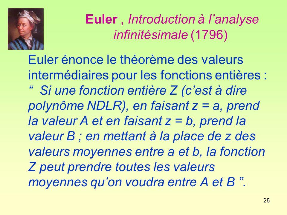 Euler , Introduction à l'analyse infinitésimale (1796)