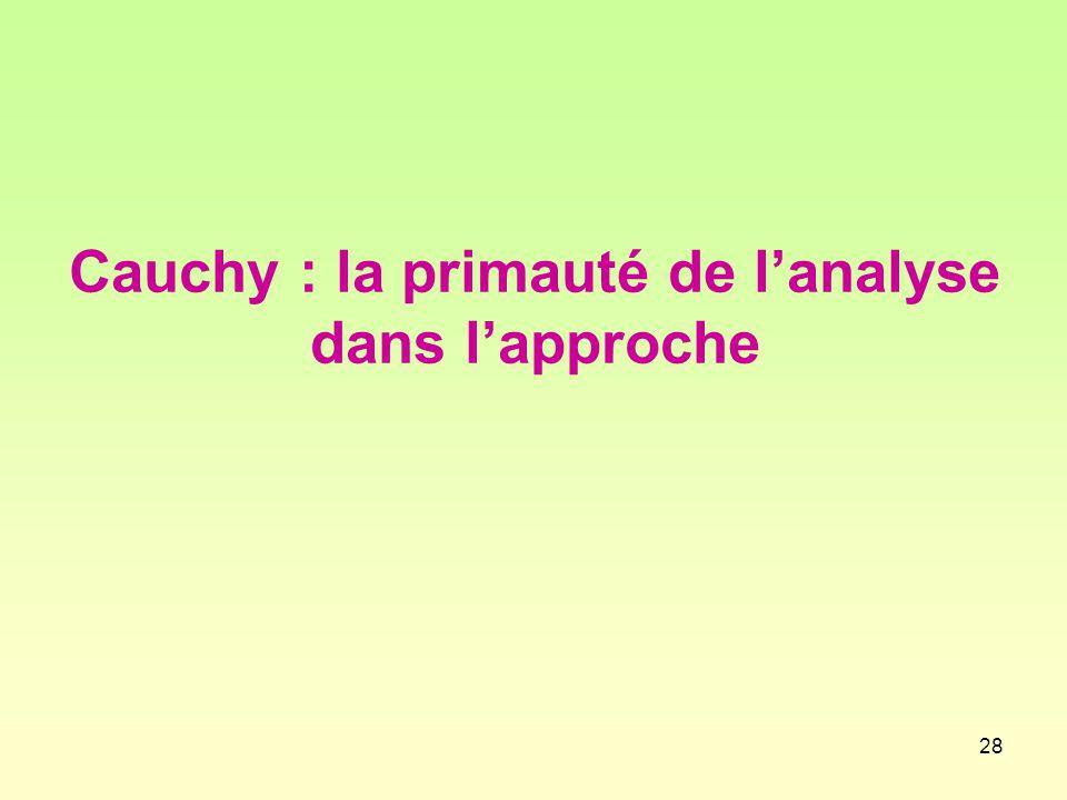 Cauchy : la primauté de l'analyse dans l'approche