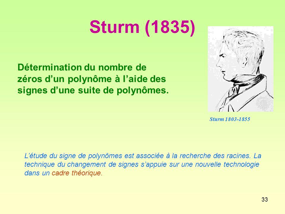 Sturm (1835) Détermination du nombre de zéros d'un polynôme à l'aide des signes d'une suite de polynômes.