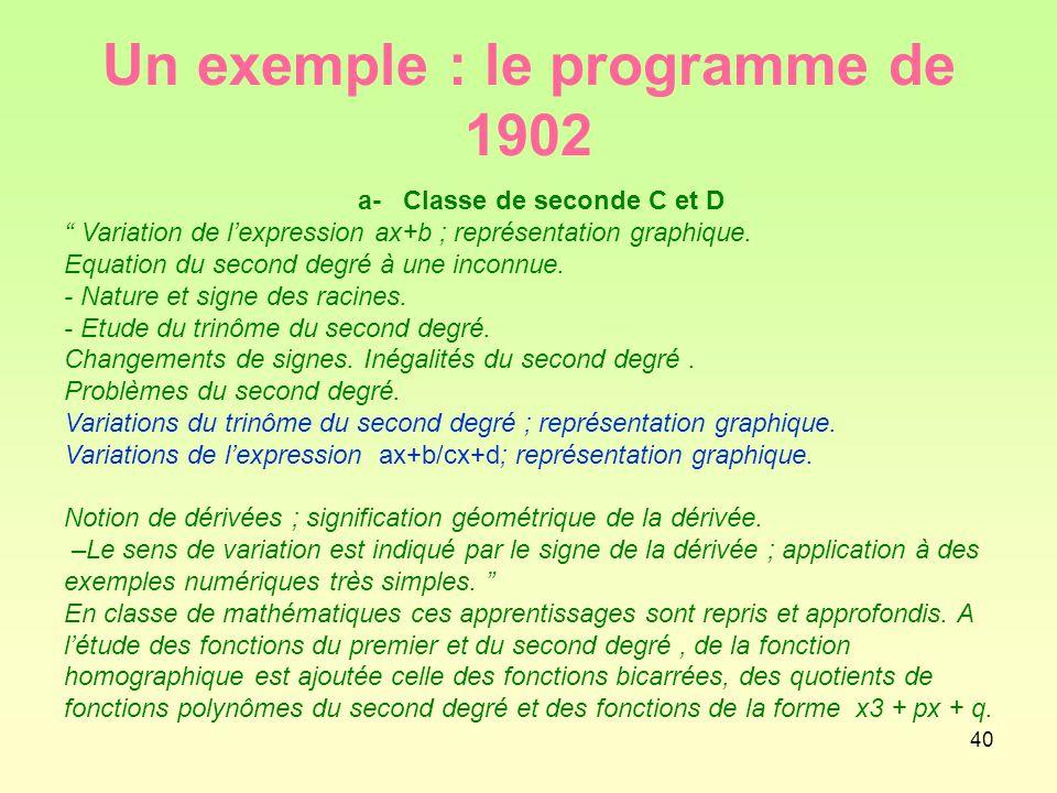 Un exemple : le programme de 1902