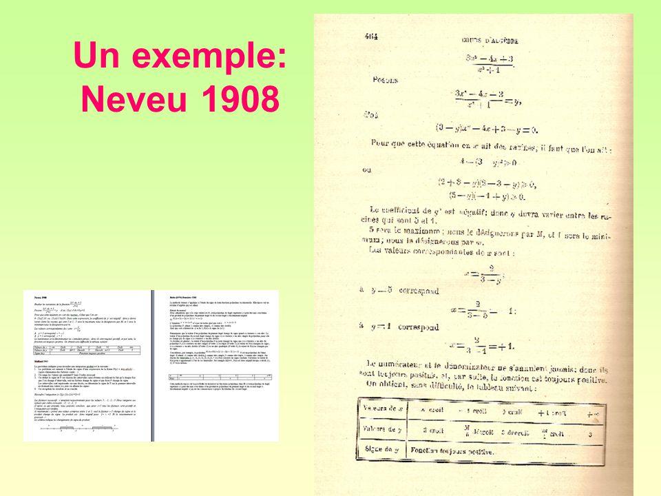 Un exemple: Neveu 1908