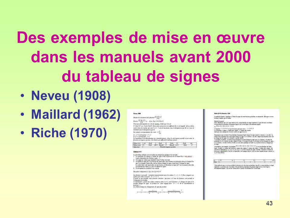 Des exemples de mise en œuvre dans les manuels avant 2000 du tableau de signes