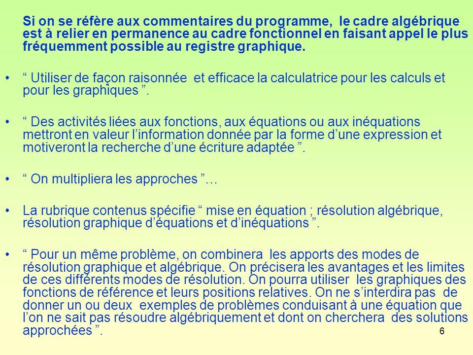 Si on se réfère aux commentaires du programme, le cadre algébrique est à relier en permanence au cadre fonctionnel en faisant appel le plus fréquemment possible au registre graphique.