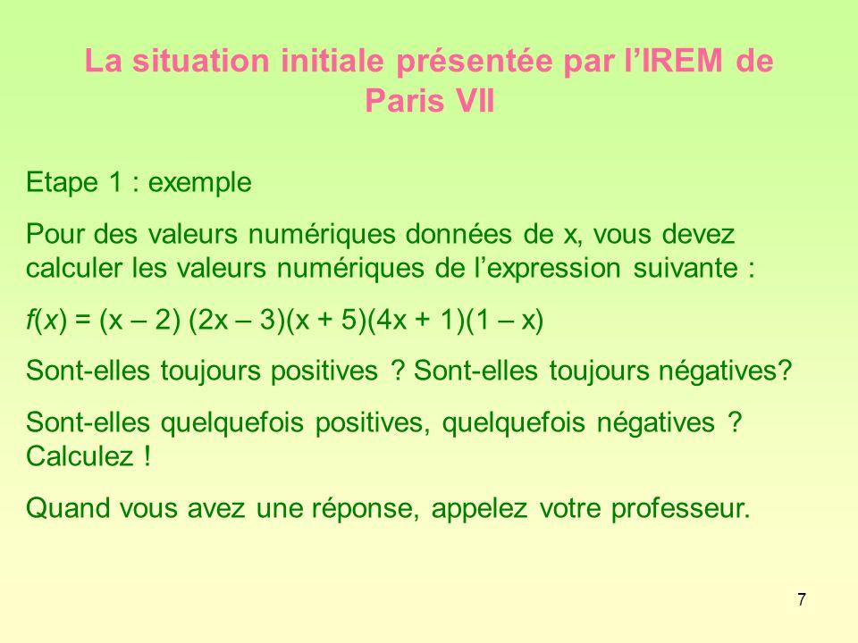 La situation initiale présentée par l'IREM de Paris VII
