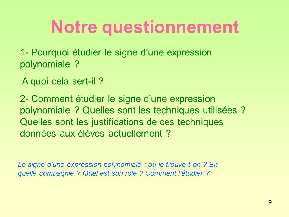 Notre questionnement 1- Pourquoi étudier le signe d'une expression polynomiale A quoi cela sert-il