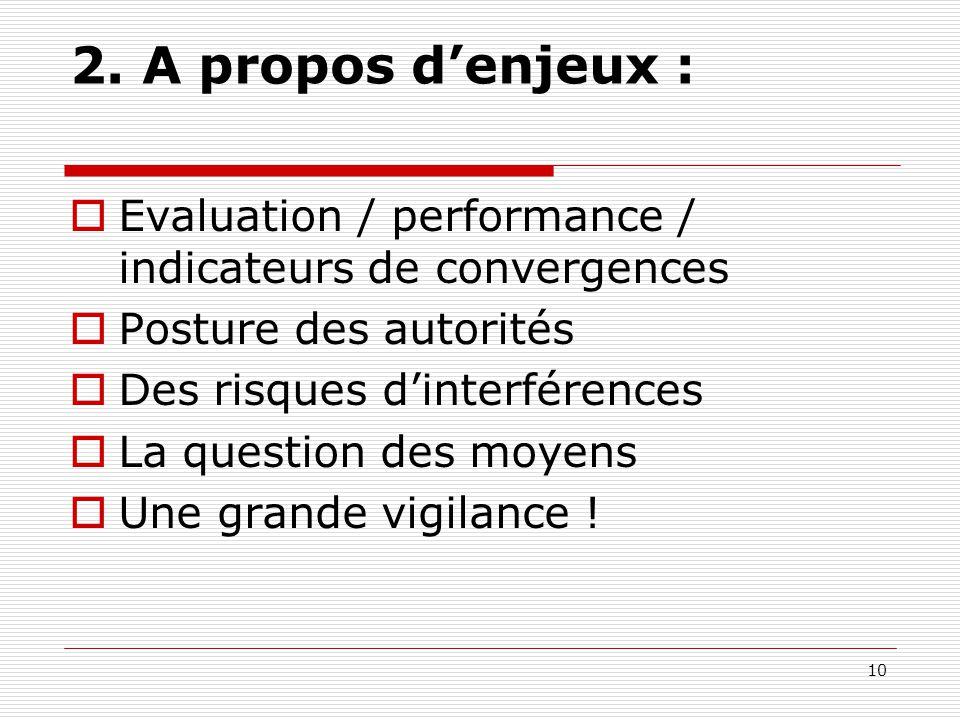 2. A propos d'enjeux : Evaluation / performance / indicateurs de convergences. Posture des autorités.