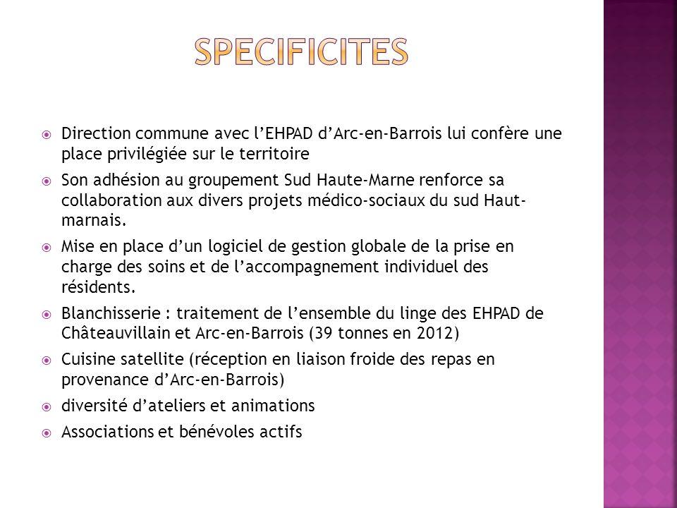 SPECIFICITES Direction commune avec l'EHPAD d'Arc-en-Barrois lui confère une place privilégiée sur le territoire.