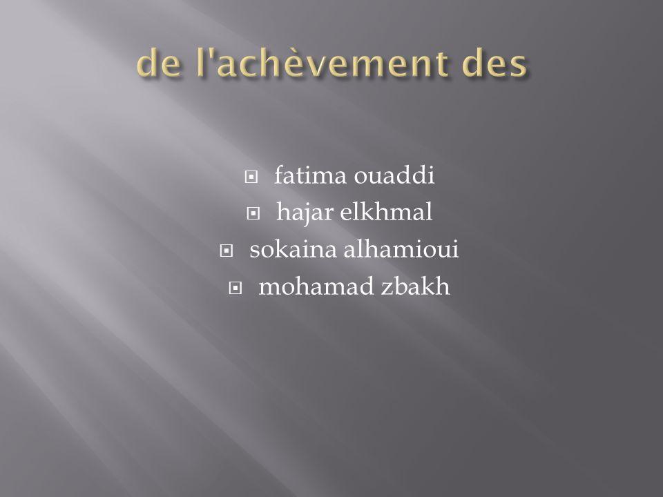 de l achèvement des fatima ouaddi hajar elkhmal sokaina alhamioui