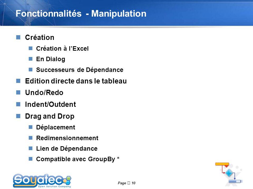 Fonctionnalités - Manipulation