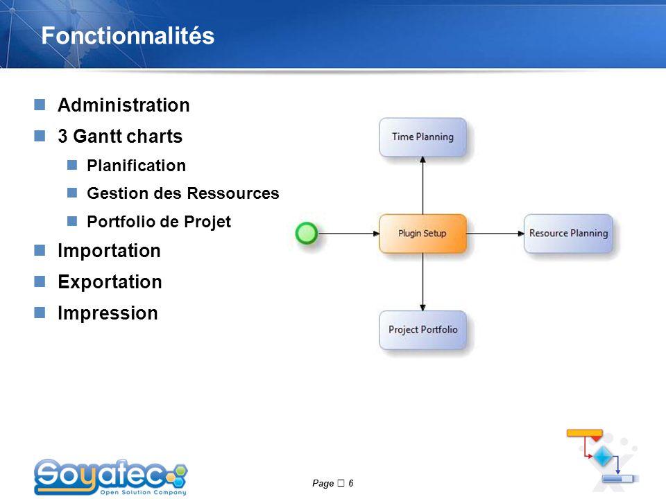 Fonctionnalités Administration 3 Gantt charts Importation Exportation