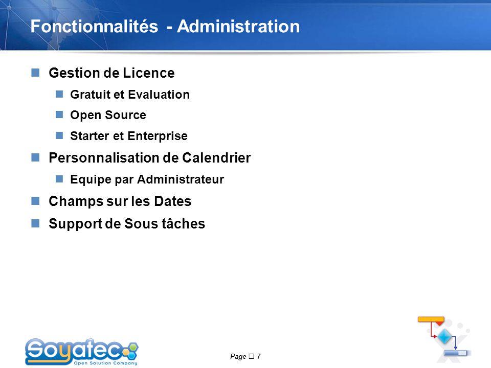 Fonctionnalités - Administration