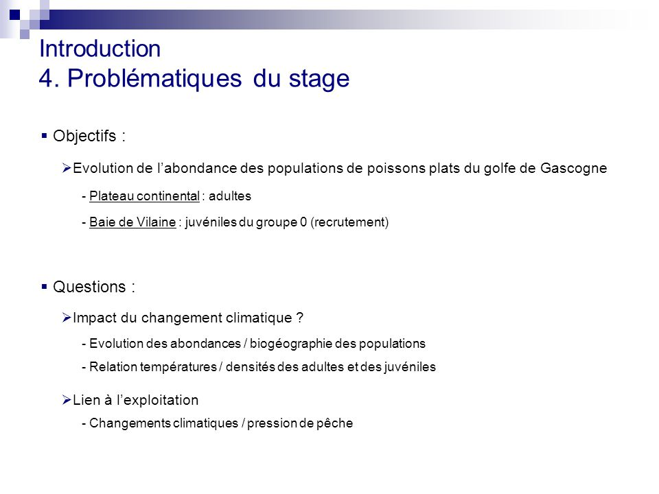 Introduction 4. Problématiques du stage