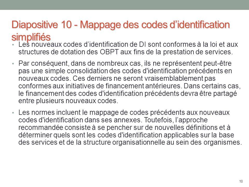 Diapositive 10 - Mappage des codes d'identification simplifiés