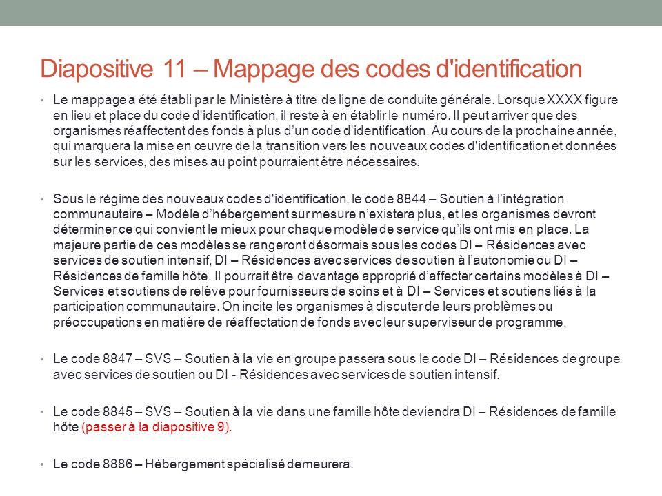 Diapositive 11 – Mappage des codes d identification