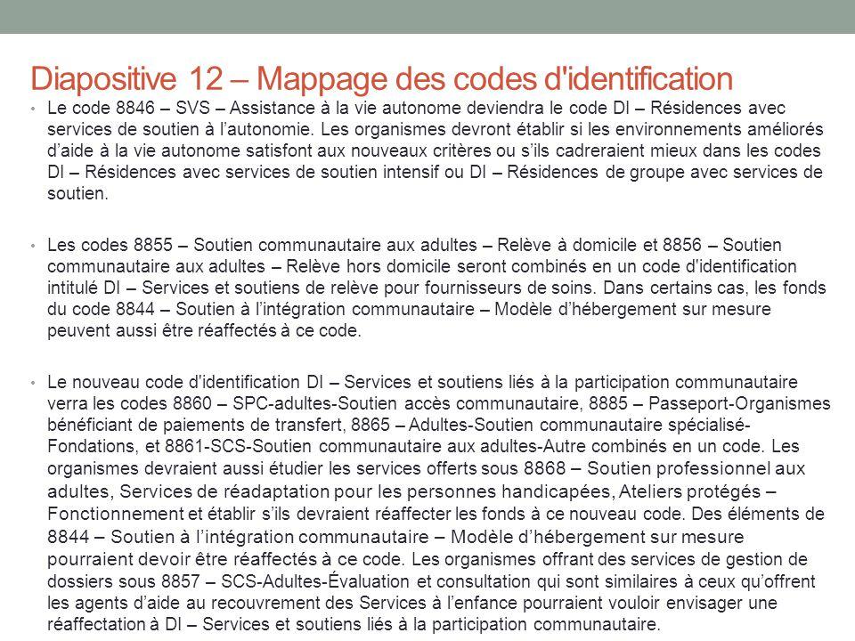 Diapositive 12 – Mappage des codes d identification