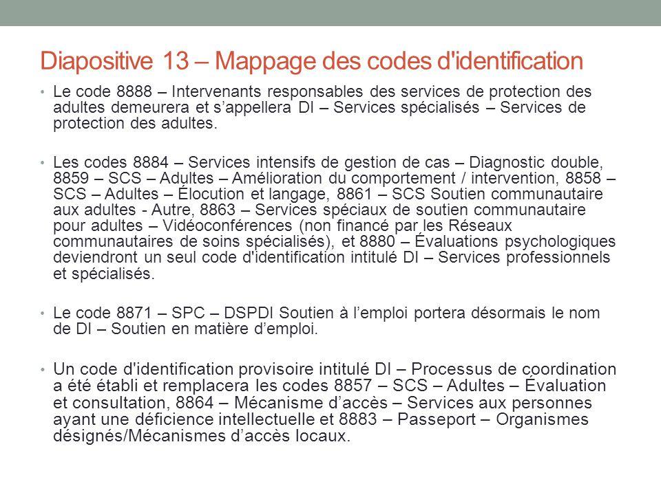 Diapositive 13 – Mappage des codes d identification