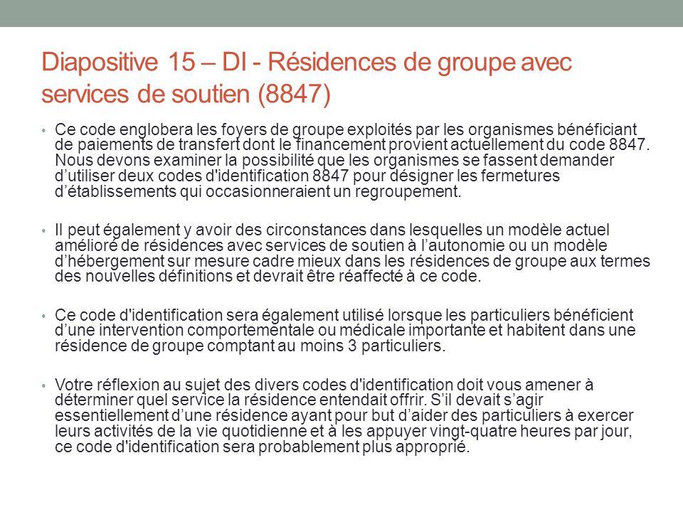 Diapositive 15 – DI - Résidences de groupe avec services de soutien (8847)