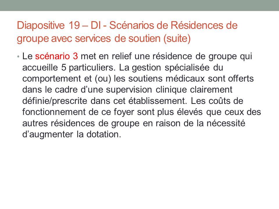 Diapositive 19 – DI - Scénarios de Résidences de groupe avec services de soutien (suite)