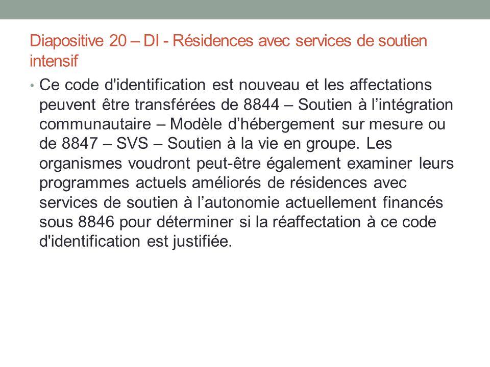 Diapositive 20 – DI - Résidences avec services de soutien intensif