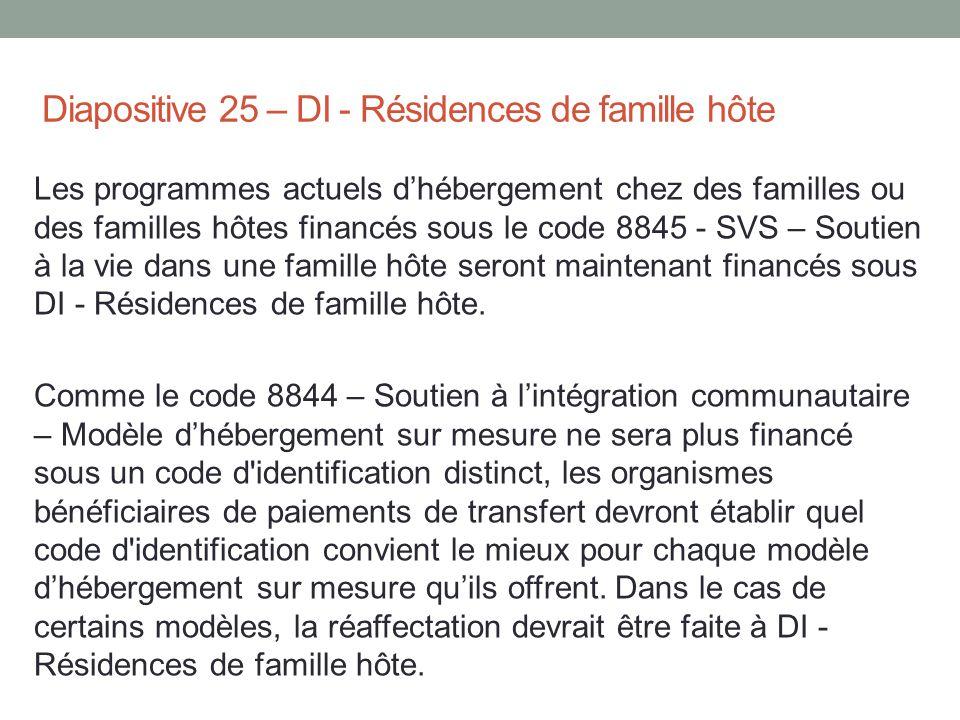 Diapositive 25 – DI - Résidences de famille hôte