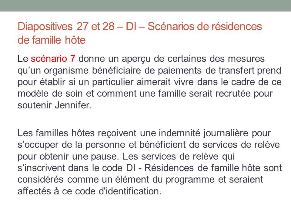 Diapositives 27 et 28 – DI – Scénarios de résidences de famille hôte