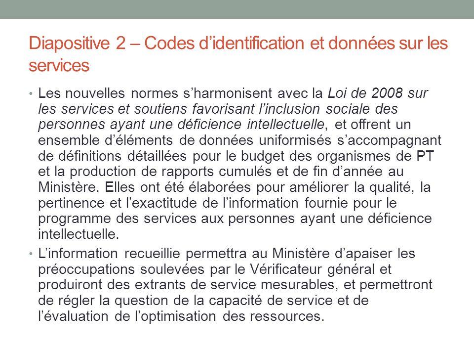 Diapositive 2 – Codes d'identification et données sur les services