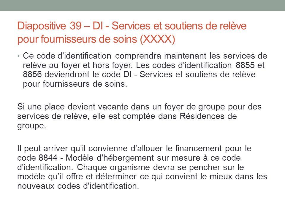Diapositive 39 – DI - Services et soutiens de relève pour fournisseurs de soins (XXXX)