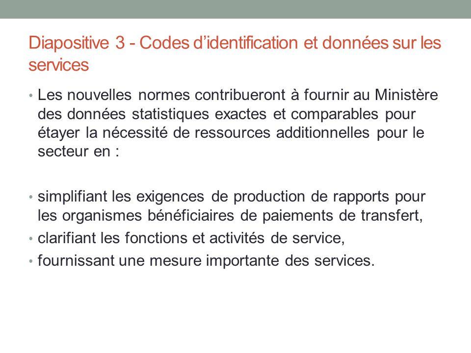 Diapositive 3 - Codes d'identification et données sur les services