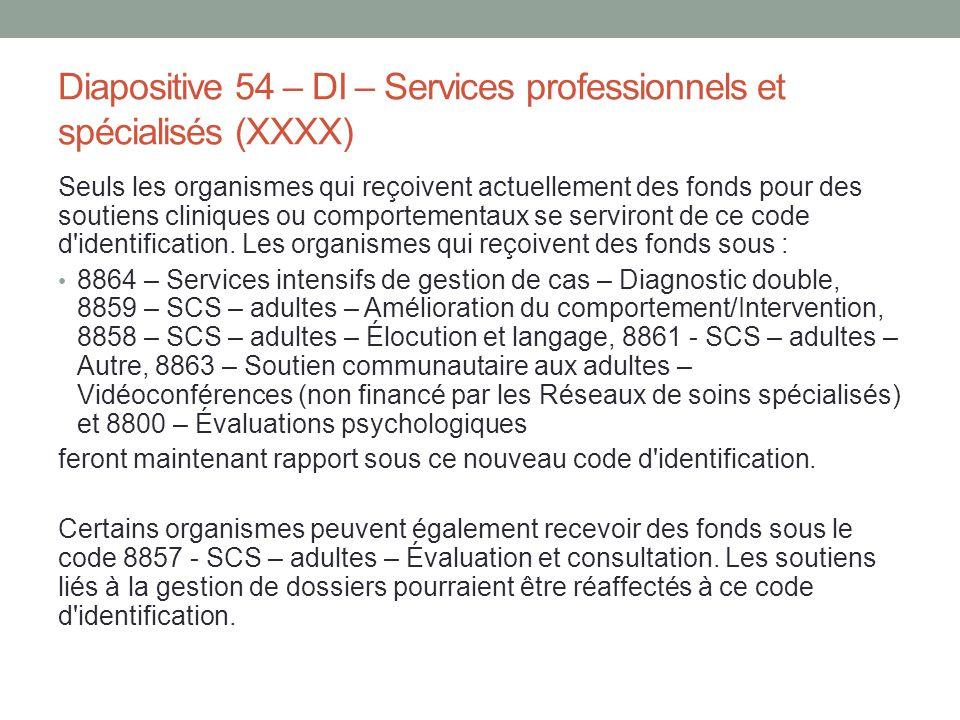 Diapositive 54 – DI – Services professionnels et spécialisés (XXXX)