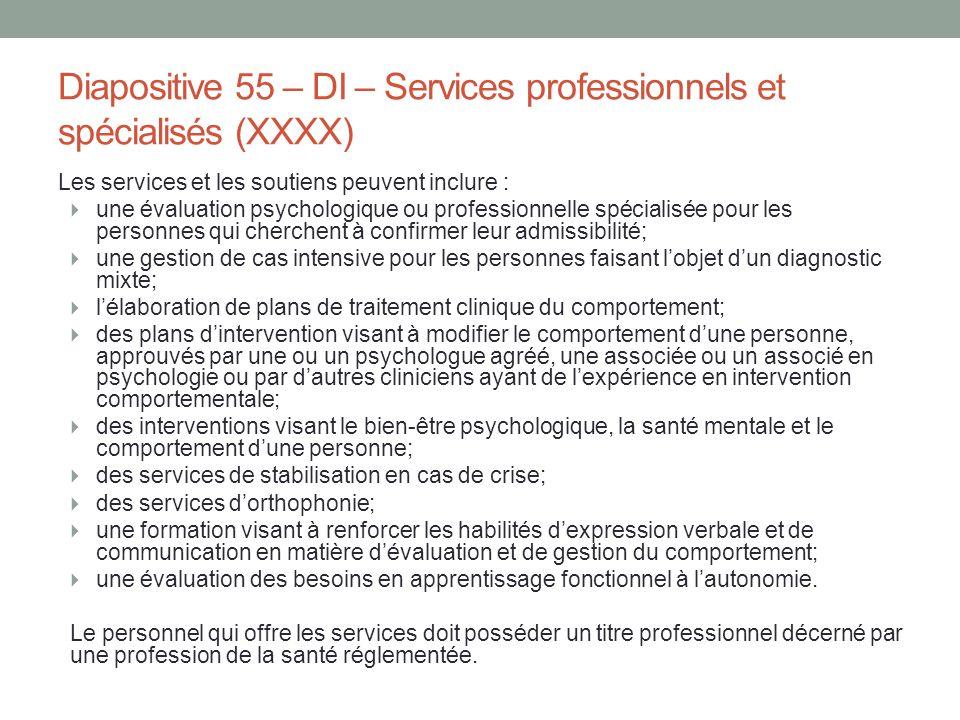 Diapositive 55 – DI – Services professionnels et spécialisés (XXXX)